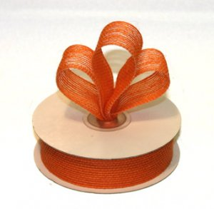 "7/8"" Orange Jute Burlap Ribbon - 10 yds"