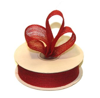 "7/8"" Red Jute Burlap Ribbon - 10 yds"