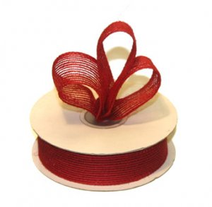 "7/8"" Red Jute Burlap Ribbon - 10 yds"