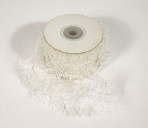 "1-1/2"" White Wired Eyelash Ribbon - 10 yds"