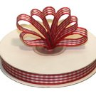 "3/8"" White-Red Polyester Satin Gingham Ribbon - 25 yds"