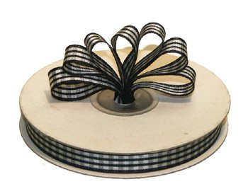 "1-1/2"" White-Black Polyester Satin Gingham Ribbon - 10 yds"