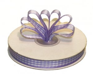 "1-1/2"" White-Lavender Polyester Satin Gingham Ribbon - 10 yds"