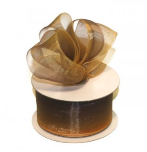 "7/8"" Brown-Lt Gold Sheer Organza Ombre Ribbon - 10 yds"