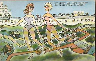 AT LEAST WE HAVE NOTHING TO FEAR FROM SHARKS 1957 COMIC POSTCARD 600