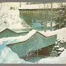 WINTER SCENE COVERED BRIDGE WATERVILLE VERMONT LAMOILLE RIVER ca 1960 POSTCARD