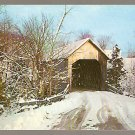 WINTER SCENE COVERED HALPIN BRIDGE MIDDLEBURY VERMONT ca 1960  POSTCARD