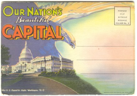 OUR NATIONS CAPITAL VINTAGE SOUVENIR POSTCARD FOLDER