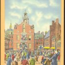 COLONIAL TIMES STATE HOUSE BOSTON MA 1930/45 LINEN MASS POSTCARD