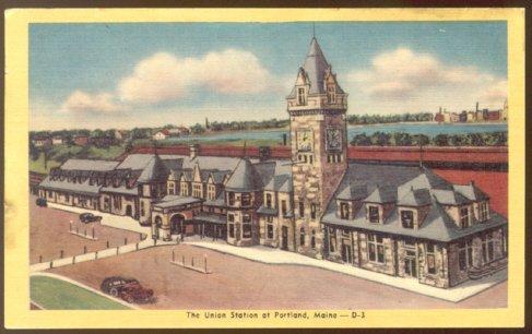 UNION STATION PORTLAND MAINE 1930/45 LINEN POSTCARD