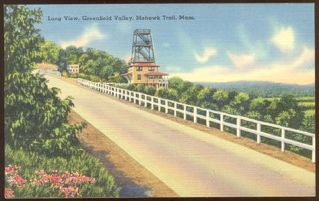 LONG VIEW GREENFIELD VALLEY MA MOHAWK TRAIL LINEN POSTCARD