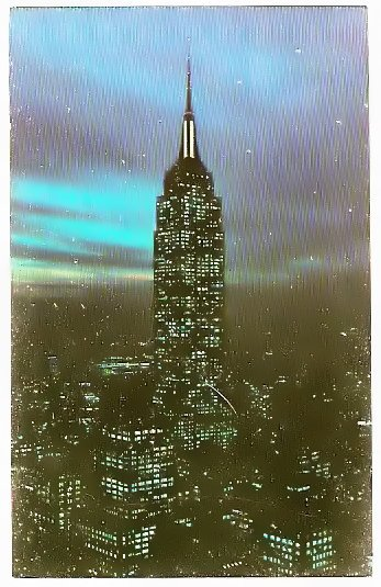 NIGHT VIEW EMPIRE STATE BUILDING NEW YORK CITY 1973 POSTCARD