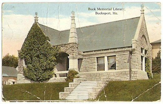 BUCK MEMORIAL LIBRARY BUCKSPORT MAINE 1915 POSTCARD