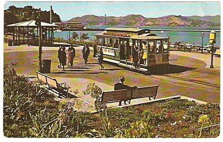 ca 1960 SAN FRANCISCO MARITIME PARK & TROLLEY CAR POSTCARD