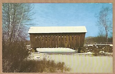 WINTER COVERED BRIDGE ROUTE 4 ANDOVER NEW HAMPSHIRE NH POSTCARD