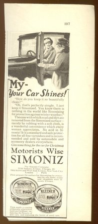 ORIGINAL 1923 SIMONIZ WAX AD