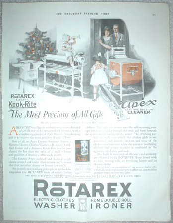 LARGE ORIGINAL 1923 ROTAREX CLOTHES WASHER IRONER ELECTRIC SUCTION CLEANER & ELECTRIC KOOK RITE AD