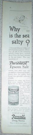 1923 REXALL DRUG EPSOM SALT WILSON BROS UNION SUIT ADS