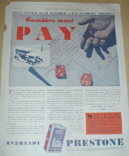 ORIGINAL 1931 PRESTONE EVEREADY ANTI-FREEZE AD