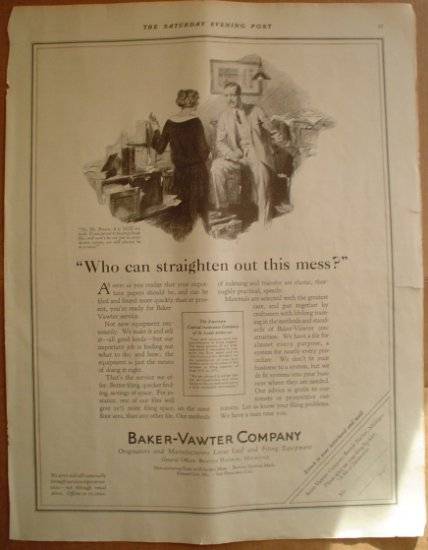 LARGE ORIGINAL 1923 BAKER VAWTER OFFICE EQUIPMENT AD