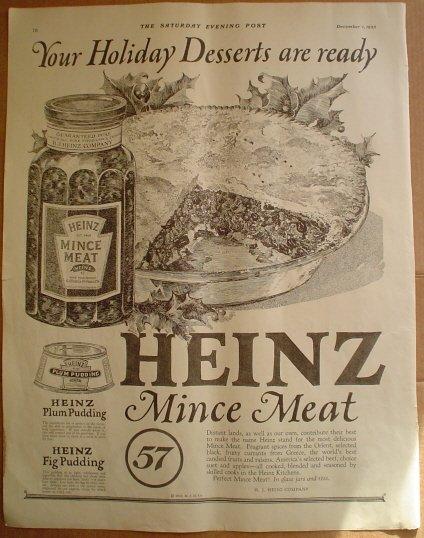 LARGE ORIGINAL 1923 HEINZ MINCE MEAT + SHEETROCK AD