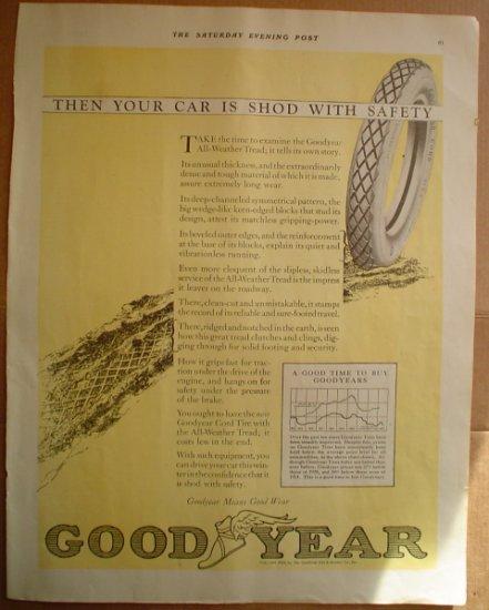LARGE ORIGINAL 1923 GOODYEAR TIRE AD