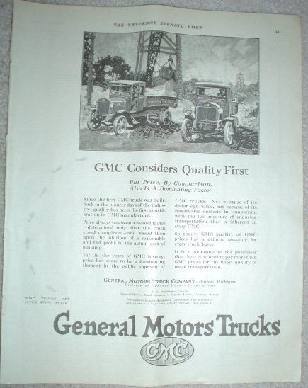 LARGE ORIGINAL 1923 GMC GENERAL MOTORS TRUCK AD