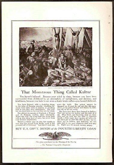ORIGINAL 1918 WAR BOND AD DEPICTING GERMAN ATROCITIES  + GRAFLEX CAMERA AD