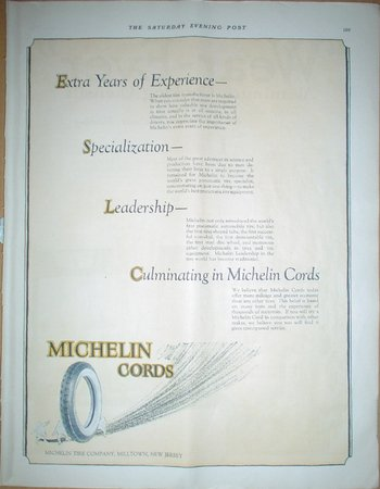 LARGE ORIGINAL 1923 WEAREVER COOKWARE + MICHELIN CORDS TIRE Ads