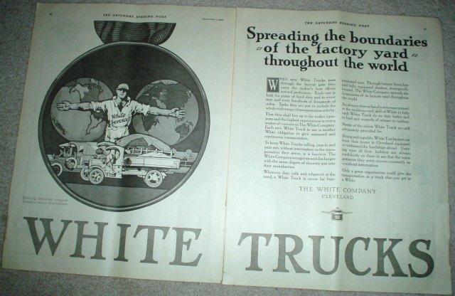 LARGE 22x11 ORIGINAL 1923 WHITE TRUCKS AD CLEVELAND OHIO