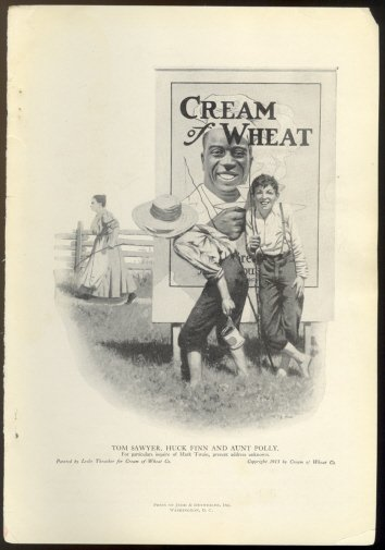 ORIGINAL 1918 HUCK FINN CREAM OF WHEAT AD W/ TOM SAWYER AUNT POLLY & RASTUS + GOLD MEDAL FLOUR AD