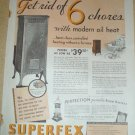 LARGE FULL PAGE ORIGINAL 1931 SUPERFEX OIL HEAT AD