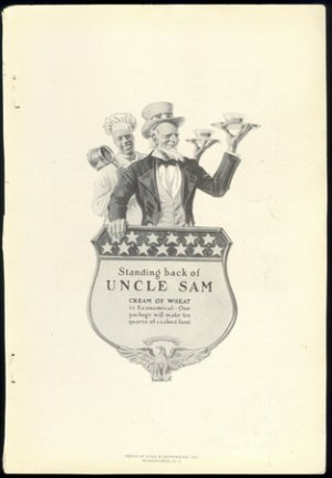 ORIGINAL 1918 CREAM OF WHEAT AD FEATURING UNCLE SAM & RASTUS + OLD DUTCH CLEANSER AD