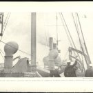 WORLD WAR 1 SAILORS ABOARD SHIP WAVING AT AIRPLANE ORIGINAL 1918 GEOGRAPHIC PHOTO
