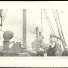 WORLD WAR 1 SAILORS ABOARD SHIP WAVING AT AIRPLANE ORIGINAL 1918 GEOGRAPHIC PHOTO