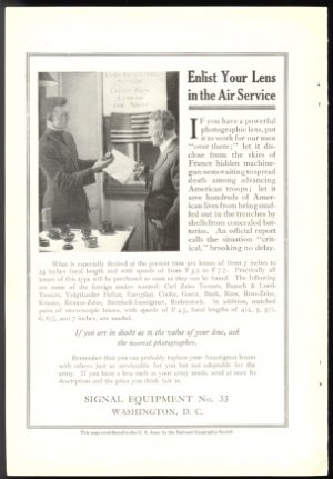 ORIGINAL 1918 WORLD WAR 1 WW 1 ARMY AIR CORPS APPEAL TO CIVILIANS FOR THEIR  PHOTOGRAPHIC LENSES