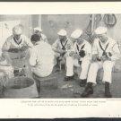 WORLD WAR 1 U.S. NAVY SAILORS SPLICING ROPE ABOARD SHIP 1918 GEOGRAPHIC PHOTO USN