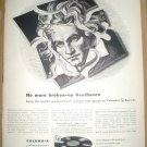 1949 COLUMBIA MICROGROOVE RECORDS BEETHOVEN FULL PAGE AD ETIQUET DEODORANT & PERMA-LEFT PANTIES AD