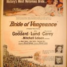 1949 PARAMOUNT PICTURES BRIDE OF VENGEANCE PAULETTE GODDARD JOHN LUND MACDONALD CAREY FULL PAGE AD