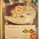 ORIGINAL 1949 A&P 8 O'CLOCK COFFEE + CANNON PERCALE SHEETS FULL PAGE AD