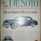 COLORFUL FULL PAGE 1949 DeSOTO + ELSIE BORDEN AND FAMILY ADS