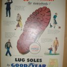 COLORFUL FULL PAGE 1949 GOOD YEAR LUG SOLES + GENERAL MILLS AD MENTIONING THE UNION WAGES ETC