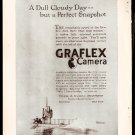 ORIGINAL 1918 GRAFLEX CAMERA AD WITH WORLD WAR 1 SUBMARINE WW1