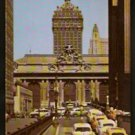 ca 1950 POSTCARD TRAFFIC ON RAMP IN FRONT OF GRAND CENTRAL TERMINAL NEW YORK CITY