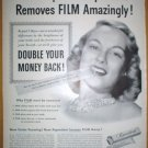 NEW IMPROVED PEPSODENT TOOTH PASTE REMOVES FILM AMAZINGLY ORIGINAL 1949 FULL PAGE AD