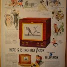1949 RCA VICTOR TELEVISION AD WITH BASEBALL & HOCKEY PLAYERS