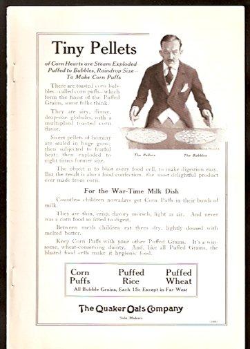 1918 AD QUAKER OATES CORN PUFFS PUFFED RICE PUFFED WHEAT & FENESTRA STEEL WINDOWS DETROIT MI