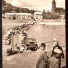 1955 PHOTO POSTCARD WW2 SOVIET CONVOY CROSSING PONTOON BRIDGE ON THE DANUBE IN BRATISLAVA