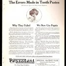 1918 AD PEPSODENT TOOTHPASTE WITH FLAPPER GIRL