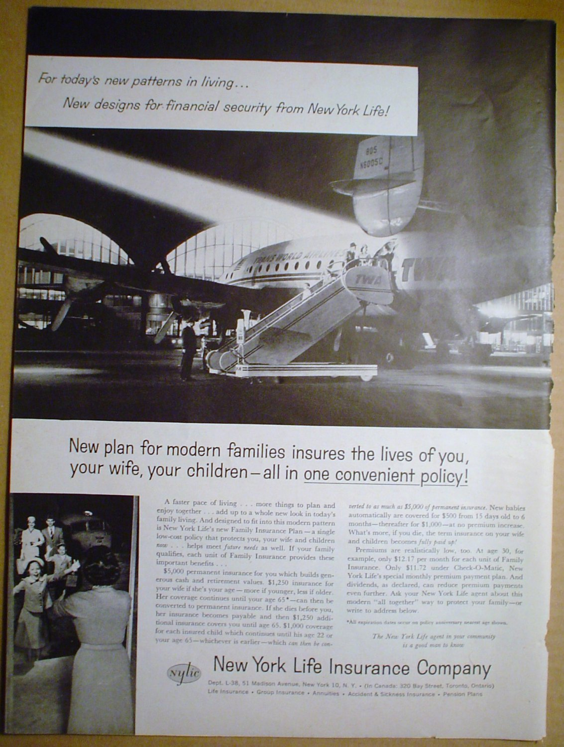 1958 FULL PAGE AD NEW YORK LIFE WITH TWA AIRLINER